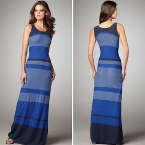 Vince Large Blue Striped Maxi Dress